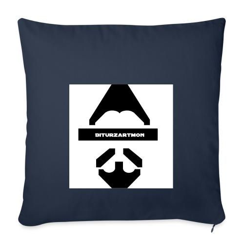 Biturzartmon Logo schwarz/weiss glatt - Sofakissenbezug 44 x 44 cm