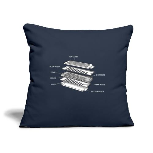 Exploded harmonica - white text - Sofa pillowcase 17,3'' x 17,3'' (45 x 45 cm)