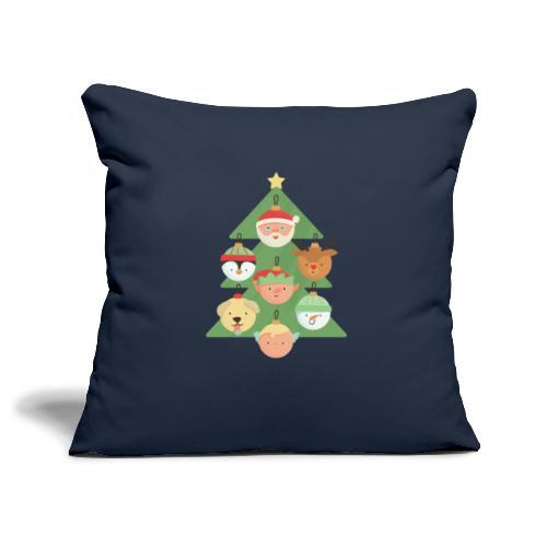 Weihnachtsbaum mit Gesichterkugeln - Sofakissenbezug 44 x 44 cm