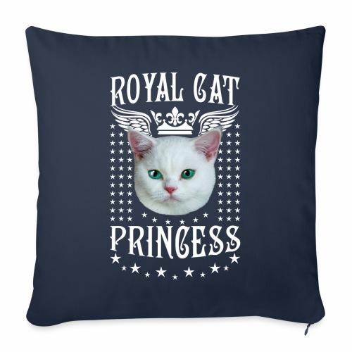 26 Royal Cat Princess white feine weiße Katze - Sofakissenbezug 44 x 44 cm