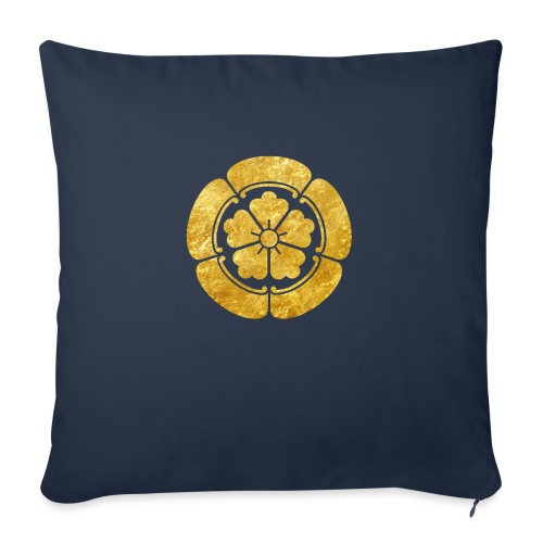 Oda Mon Japanese samurai clan faux gold on black - Sofa pillowcase 17,3'' x 17,3'' (45 x 45 cm)