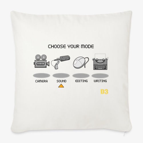 Sound/Black- Choose Your Mode - Sofa pillow cover 44 x 44 cm
