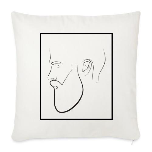 Silueta hombre barba - Funda de cojín, 44 x 44 cm