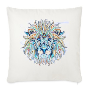 stock vector patterned head of the lion on the gru - Funda de cojín, 44 x 44 cm
