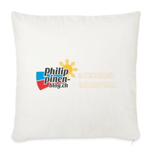 Philippinen-Blog Logo deutsch orange/weiss - Sofakissenbezug 44 x 44 cm