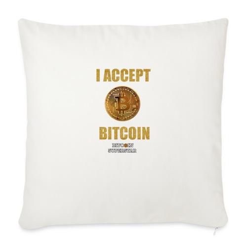 I accept bitcoin - Copricuscino per divano, 44 x 44 cm