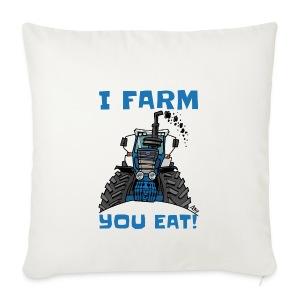 I farm you eat blauw - Sierkussenhoes, 44 x 44 cm
