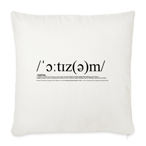 AUTISM BLACK - Sofa pillow cover 44 x 44 cm