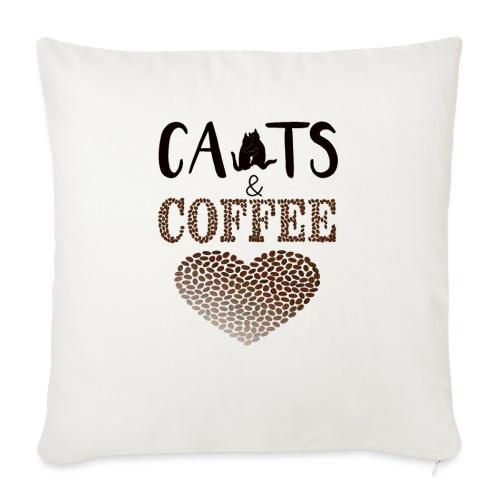 Katzen und Kaffee Schwarze Schrift - Sofakissenbezug 44 x 44 cm