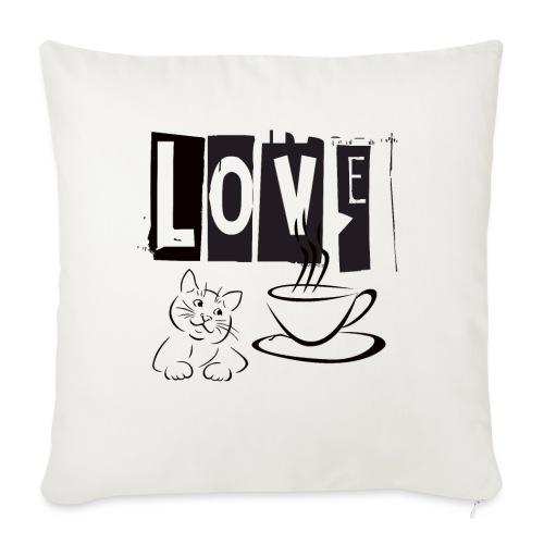 Love Katze Kaffee - Sofakissenbezug 44 x 44 cm