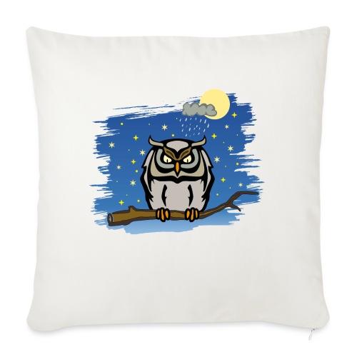 Eule Uhu Nachtschwärmer Vollmond Regenwolke Sterne - Sofakissenbezug 44 x 44 cm
