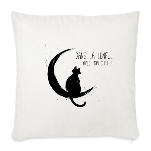 Dans la Lune... avec mon chat ! - Housse de coussin décorative 45x 45cm