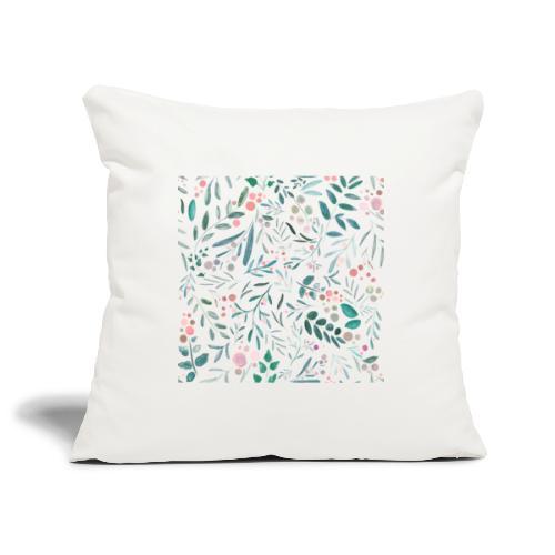 floral pattern, acquerello di fiori e foglie - Copricuscino per divano, 45 x 45 cm