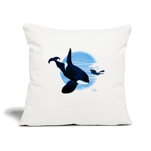 Orque et plongeur courageux - Housse de coussin décorative 45x 45cm
