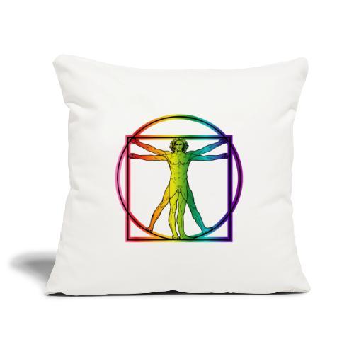 Vitruvian Man Rainbow 8 color - Sohvatyynyn päällinen 45 x 45 cm