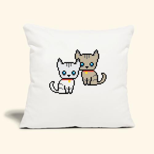 deux chats pixel - Housse de coussin décorative 45x 45cm