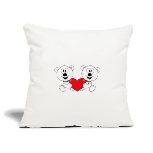 Lustige Eisbären - Herz - Liebe - Love - Fun - Sofakissenbezug 44 x 44 cm