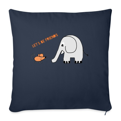 Elephant and mouse, friends - Sofa pillowcase 17,3'' x 17,3'' (45 x 45 cm)