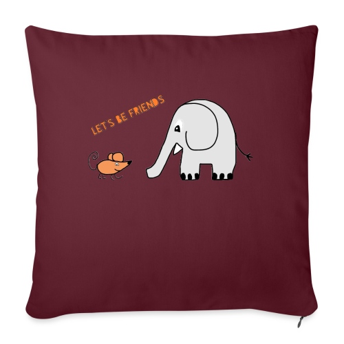 Elephant and mouse, friends - Sofa pillowcase 17,3'' x 17,3'' (45 x 45 cm)