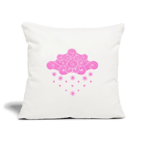 nuage rose et flocons vacances d'hiver - Housse de coussin décorative 45x 45cm