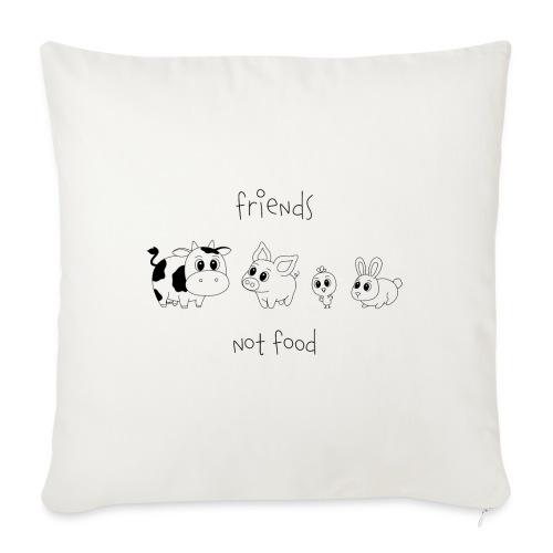 Friends, not food! (Schwarz) - Sofakissenbezug 44 x 44 cm