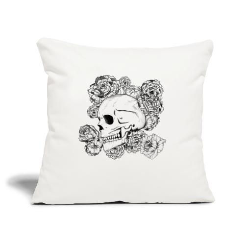 Teschio con fiori, disegno in inchiostro nero - Copricuscino per divano, 45 x 45 cm