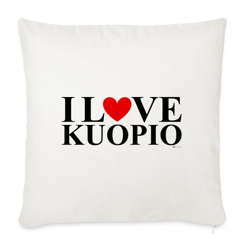I LOVE KUOPIO (koko teksti, musta) - Sohvatyynyn päällinen 45 x 45 cm