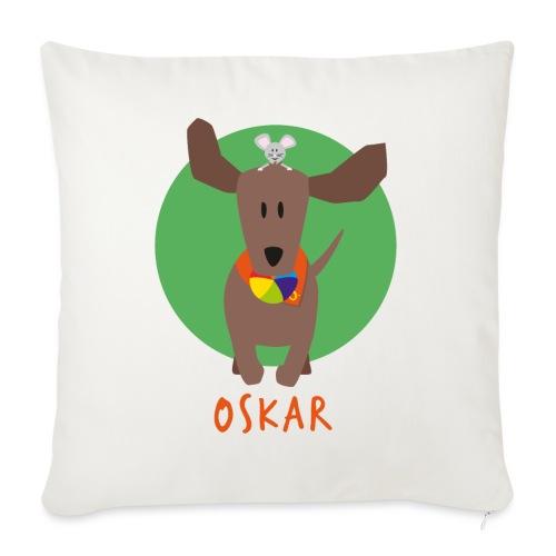 Dackel Oskar mit Maus Fridolin - Sofakissenbezug 44 x 44 cm