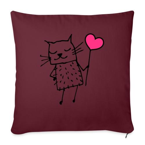 Katze mit Herz: Liebe - Sofakissenbezug 44 x 44 cm
