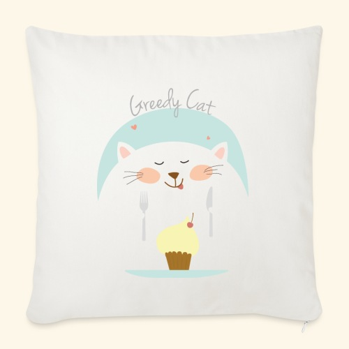 greedy cat - Funda de cojín, 45 x 45 cm