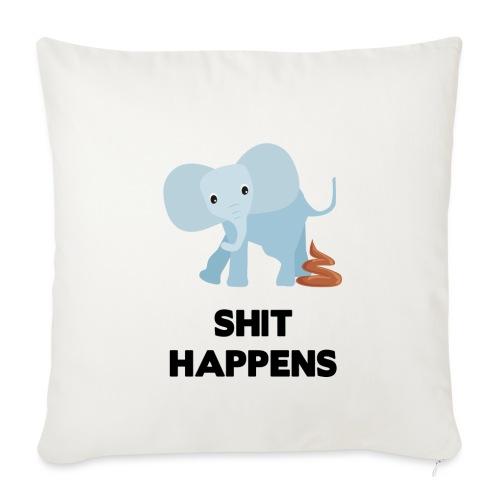 olifant met drol shit happens poep schaamte - Sierkussenhoes, 45 x 45 cm