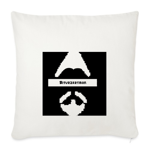 Biturzartmon Logo weiss/schwarz asiatisch - Sofakissenbezug 44 x 44 cm
