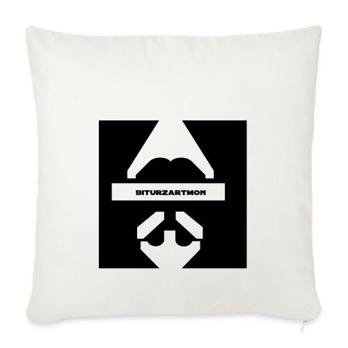 Biturzartmon Logo weiss/schwarz glatt - Sofakissenbezug 44 x 44 cm