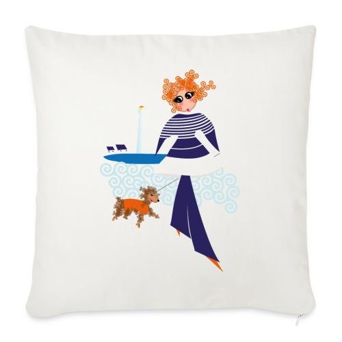Izel Dousig mariniere bleu marine - Housse de coussin décorative 45x 45cm
