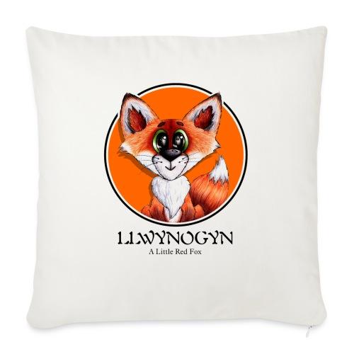 llwynogyn - a little red fox (black) - Pudebetræk 45 x 45 cm