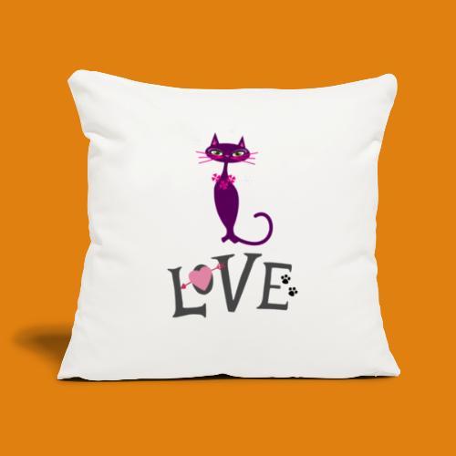 t-shirt cat love - Sofa pillowcase 17,3'' x 17,3'' (45 x 45 cm)