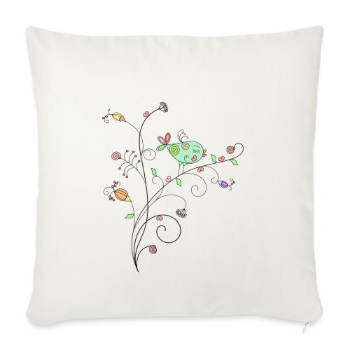 Bird Floral branch design - Sofa pillowcase 17,3'' x 17,3'' (45 x 45 cm)