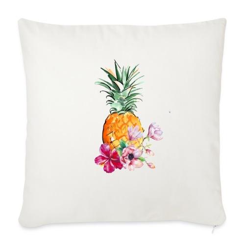 Ananas con fiori - Copricuscino per divano, 45 x 45 cm
