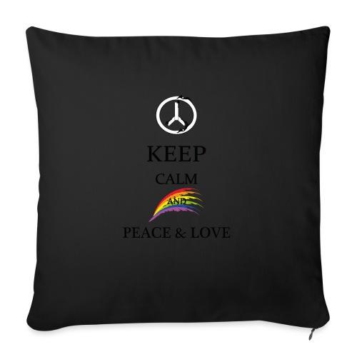 keep calm and Peace & Lov - Copricuscino per divano, 45 x 45 cm
