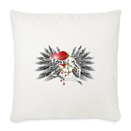 Love, Peace and Hope - Liebe, Frieden, Hoffnung - Sofakissenbezug 44 x 44 cm