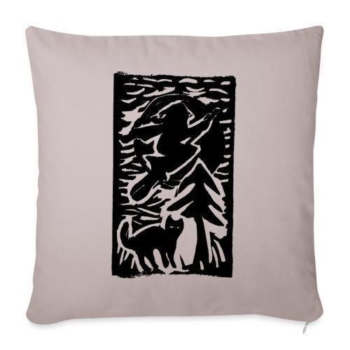 Hexe mit Katze - Sofakissenbezug 44 x 44 cm