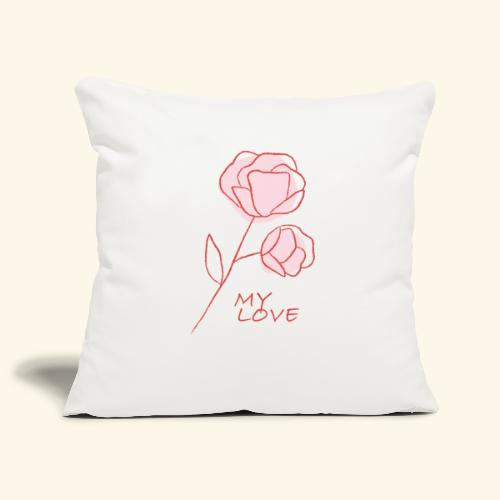 Rose My Love - Mon Amour - Saint valentin - Housse de coussin décorative 45x 45cm