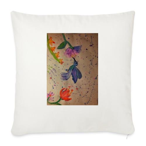 Kolibrie & bloemen - Sierkussenhoes, 45 x 45 cm