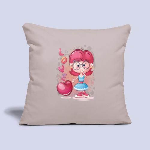 Funny and lovely girl cartoon design - Sofa pillowcase 17,3'' x 17,3'' (45 x 45 cm)