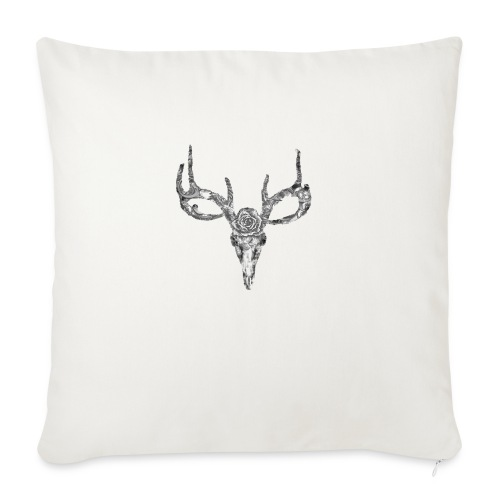 Deer skull with rose - Sohvatyynyn päällinen 45 x 45 cm