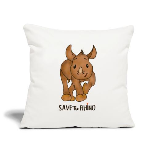 Save the Rhino - Sofa pillowcase 17,3'' x 17,3'' (45 x 45 cm)