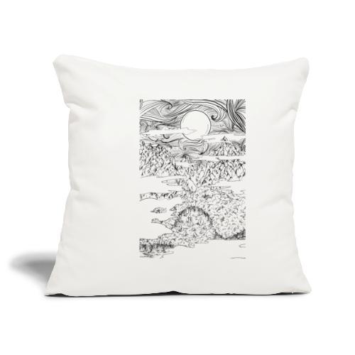 doodle montagna, disegno scena naturale notturna - Copricuscino per divano, 45 x 45 cm