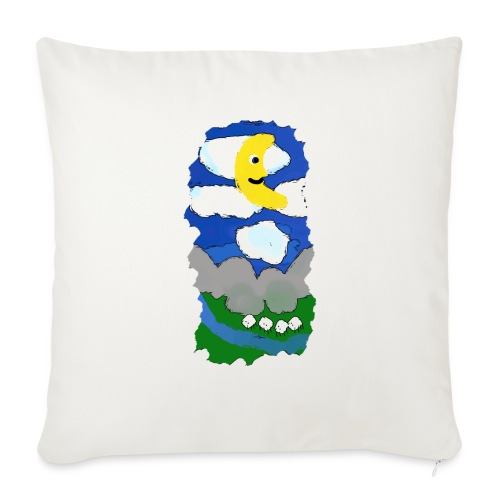 smiling moon and funny sheep - Sofa pillowcase 17,3'' x 17,3'' (45 x 45 cm)