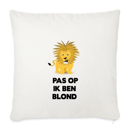 Pas op ik ben blond een cartoon van blonde leeuw - Sierkussenhoes, 45 x 45 cm