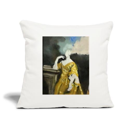 Donna sognatrice, in giallo - Copricuscino per divano, 45 x 45 cm